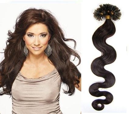 KERATIN- 100% Lidské vlasy k prodloužení REMY, tmavě hnědá 45cm- vlnité 100pramenů- VÝPRODEJ