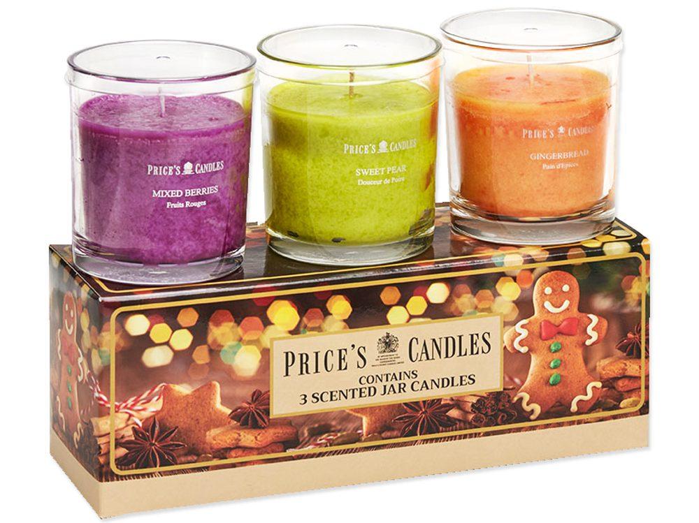 Price´s FRAGRANCE vonné svíčky ve skle - set Gingerbread 3x35h