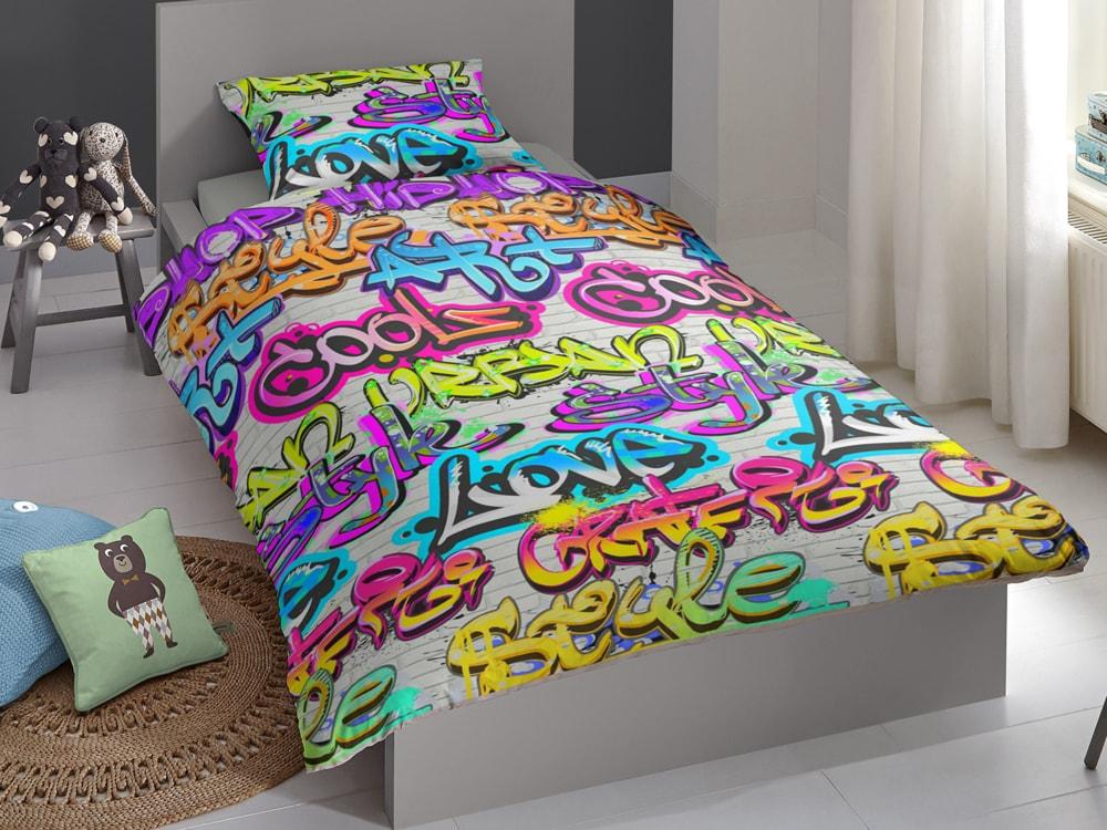 Good Morning Povlečení Good Morning 100% bavlna Grafitti 140x200/70x90 cm