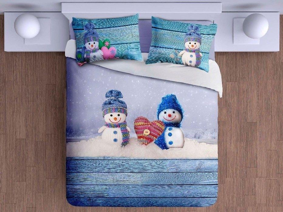Levně Gipetex Natural Dream 3D italské povlečení 100% bavlna Amorini - sněhuláci - 140x220 / 70x90 cm