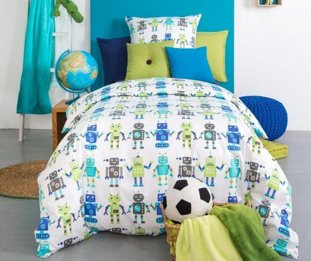 Mistral Home dětské povlečení 100% bavlna Roboti 140x200/70x90cm