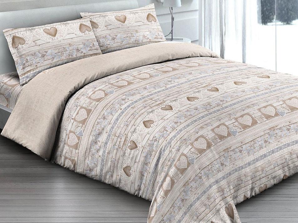 Gipetex Natural Dream Italské povlečení 100% bavlna Love beige - 140x200 / 70x90 cm