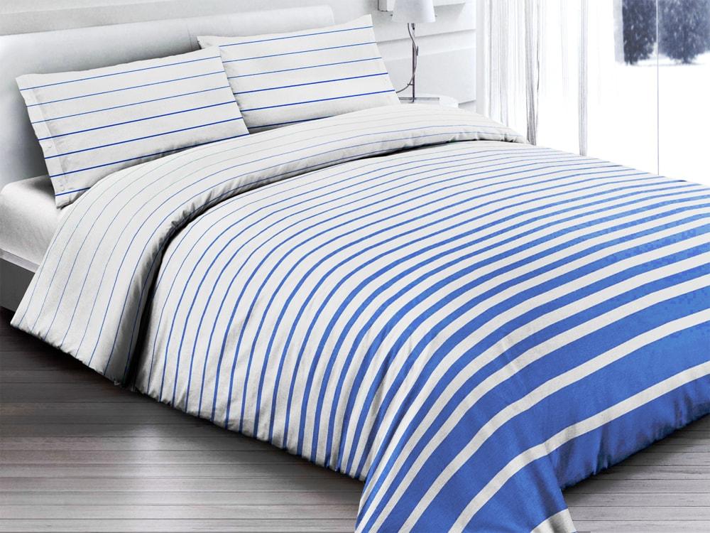 Gipetex Natural Dream Italské povlečení 100% bavlna Rigato blue - 140x200 / 70x90 cm