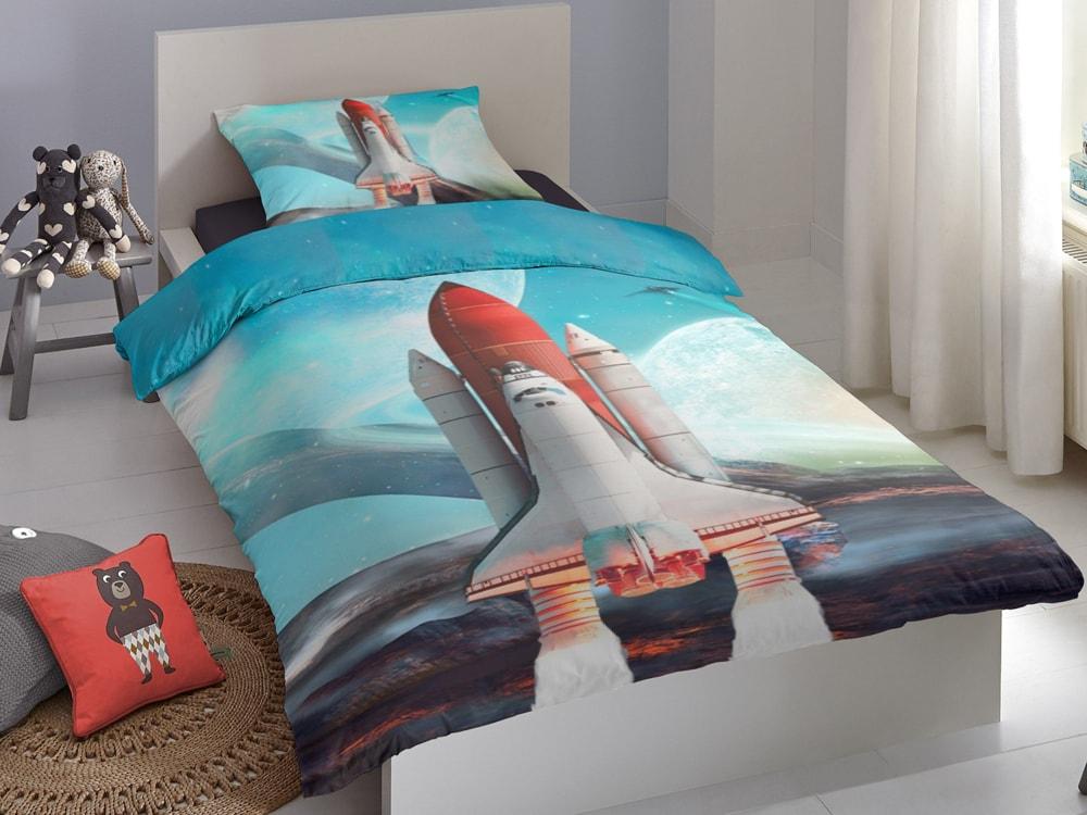 Good Morning Povlečení Good Morning 100% bavlna Spaceshuttle 140x200/70x90 cm
