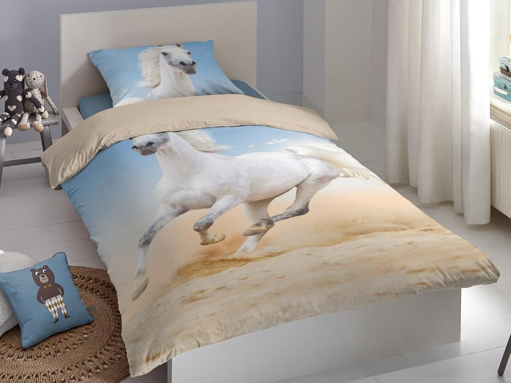 Good Morning Povlečení Good Morning 100% bavlna kůň Pablo 140x200/70x90 cm