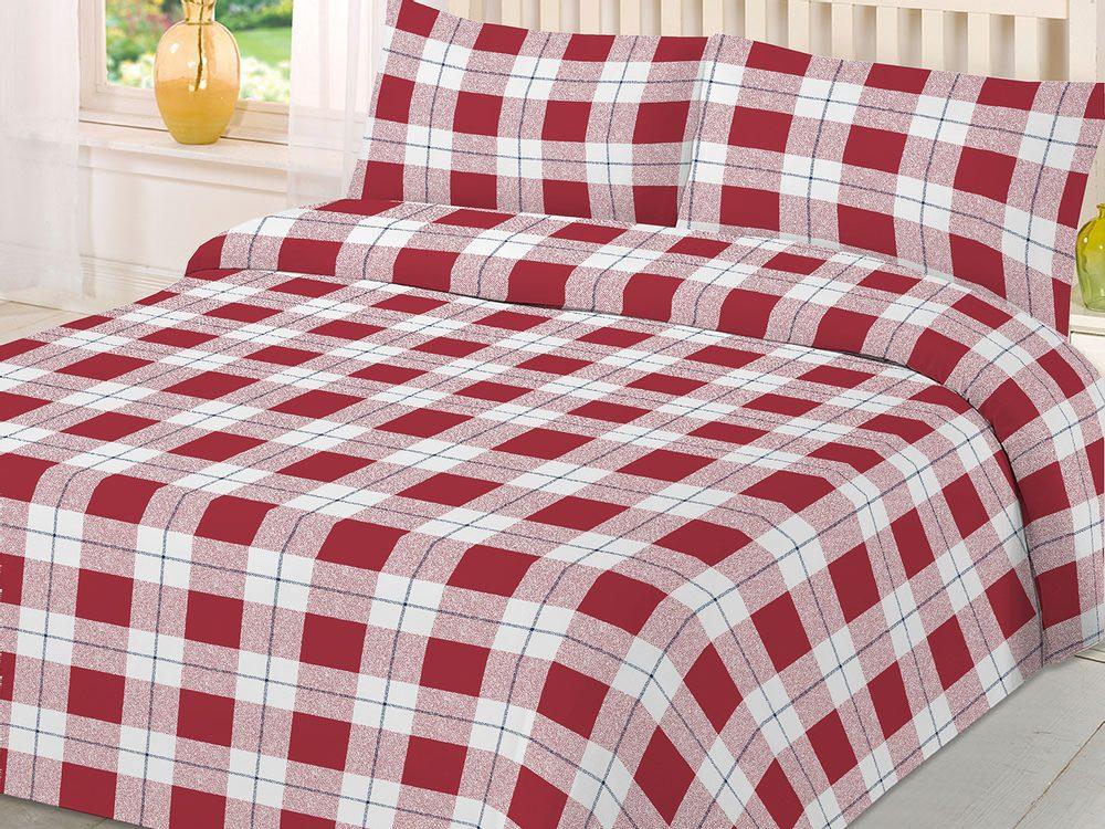 Gipetex Natural Dream Italské povlečení bavlna LUX Scozzese Rosso - 140x200 / 70x90 cm