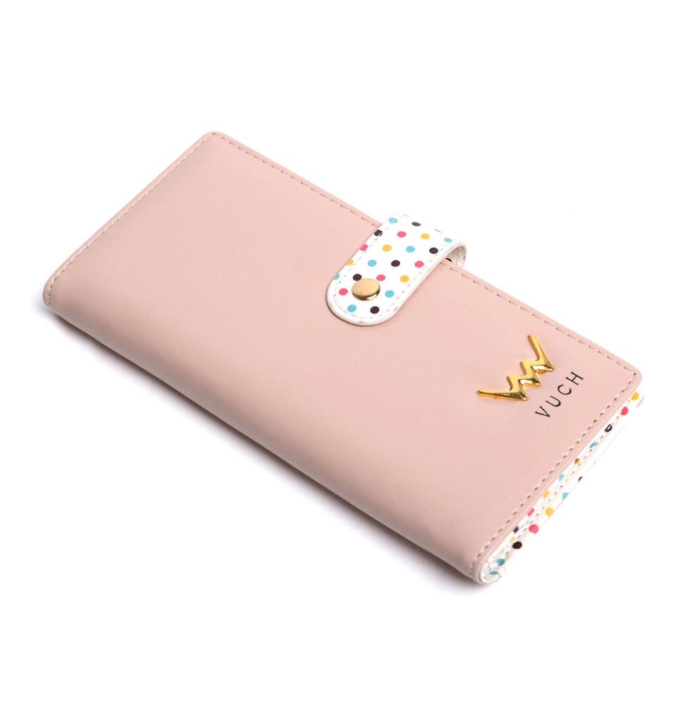 85af2860cb919 Vuch - Różowy portfel damski w kropki ze skóry ekologicznej NUDE LADIEST