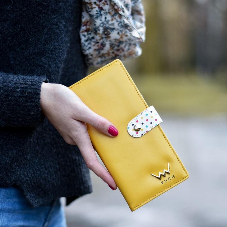 Vuch - Czarny portfel damski w kropki ze skóry