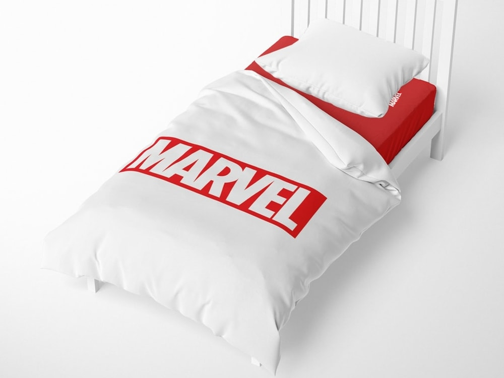 Herding obliečka Logo Marvel 140x200/70x90 cm biele