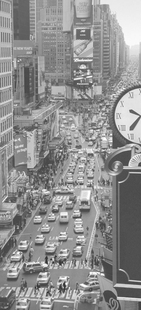 1Wall fototapeta Times square čiernobiely 95x210 cm
