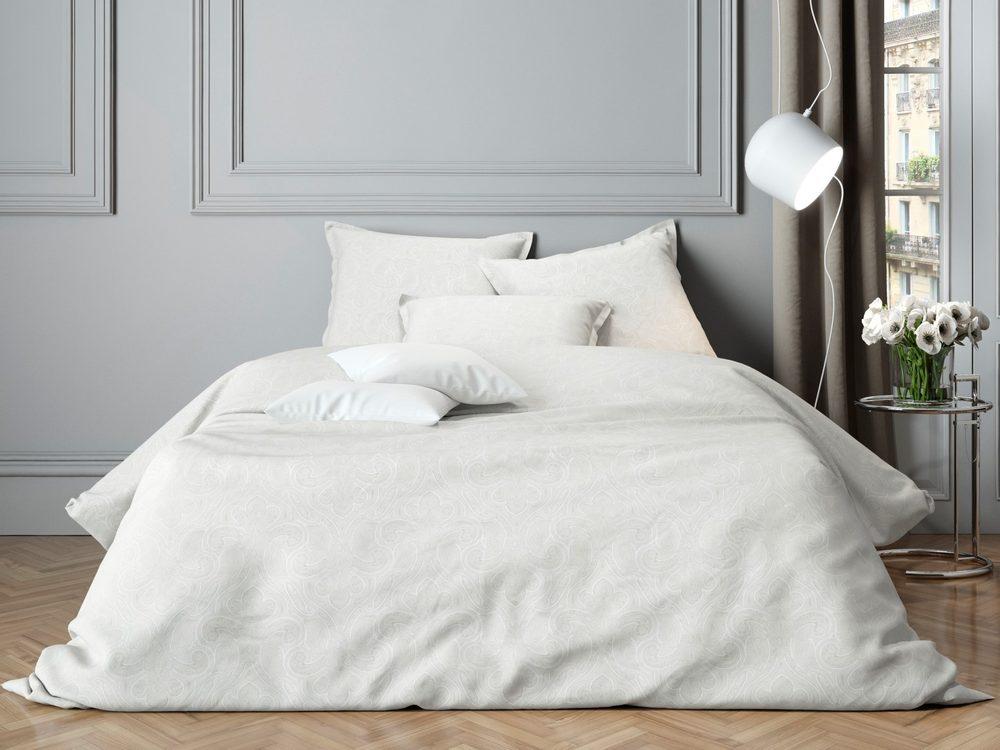 Mistral Home povlečení bavlněný satén Paisley White - 140x220 / 70x90 cm