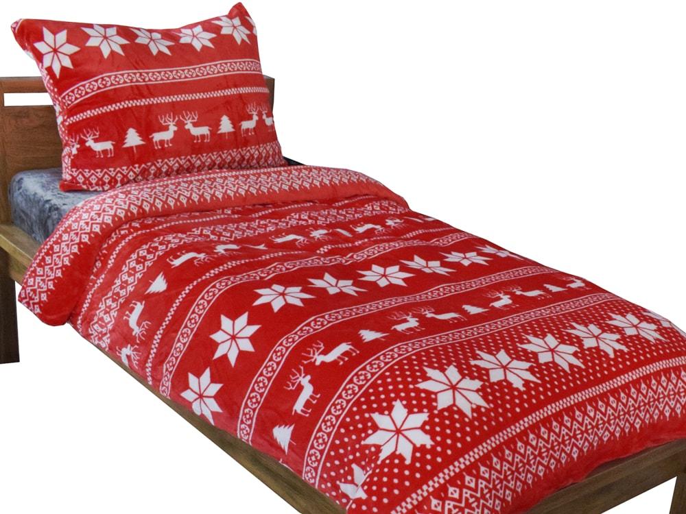 Homeville povlečení mikroplyš zimní motiv červený 220x200/2x70x90 cm