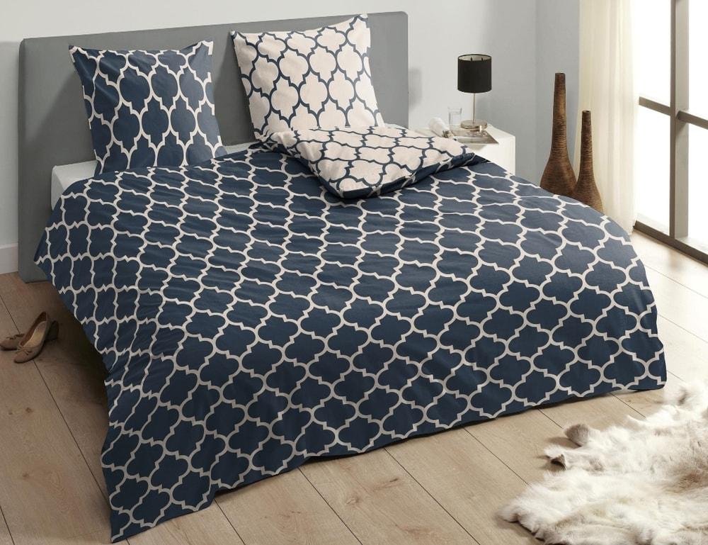 Descanso Luxusné saténové obliečky DESCANSO 9278 Lory tm.modrá - 200x200-220 / 60x70 cm
