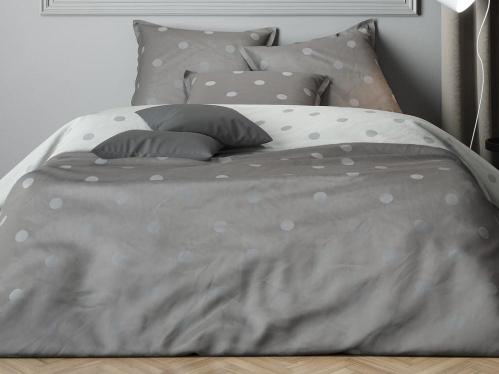 Mistral Home povlečení bavlněný satén Luna Grey šedá - 140x220 / 70x90 cm