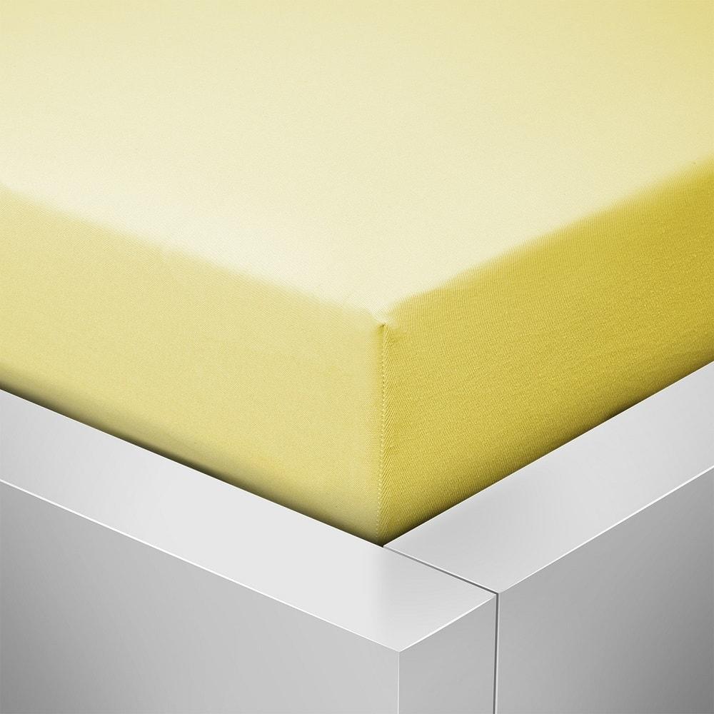 Homeville jersey prostěradlo české výroby světle žlutá 30cm výška - 140x200 cm