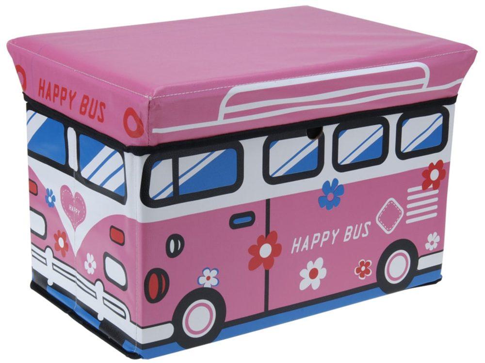 Home collection Skladací box / taburet pre deti 49x31x31 cm - Růžový autobus
