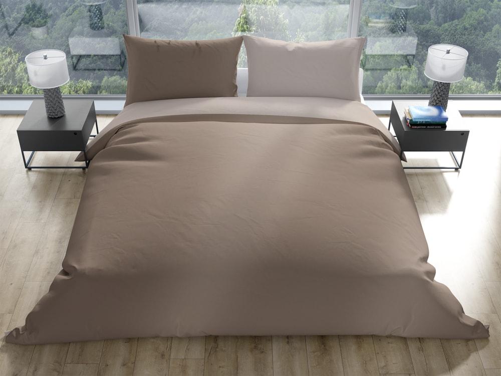 Gipetex Natural Dream Talianske obliečky 100% bavlna Doubleface svetlo/tmavo béžová - 140x220 / 70x90 cm