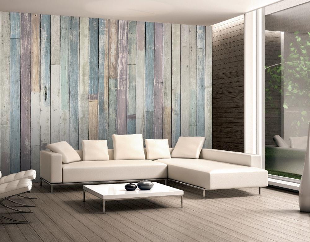 1Wall Vliesová fototapeta Drevené obloženie steny 366x253 cm