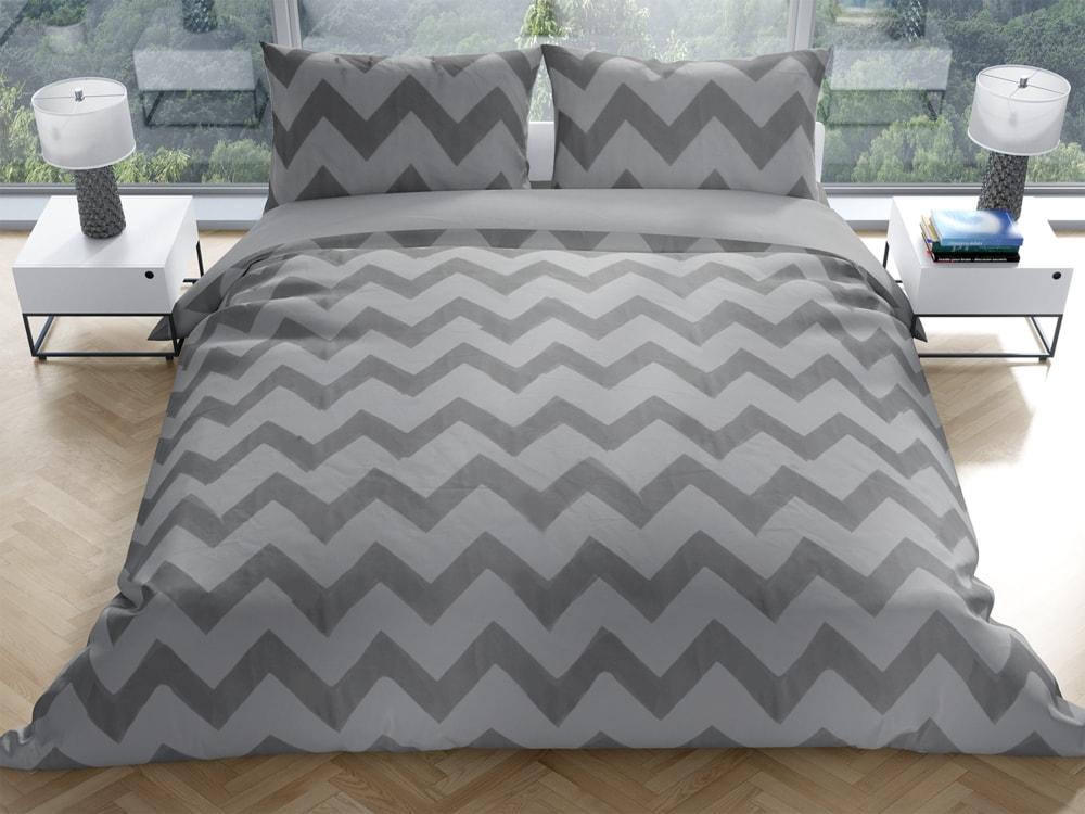 Gipetex Natural Dream Talianske obliečky 100% bavlna LUX Chevronne šedá - 140x220 / 70x90 cm