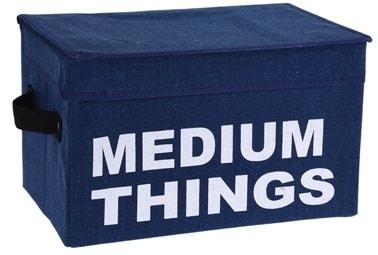 Home collection Úložný box s víkem - modrá - Medium things 21x33x21 cm