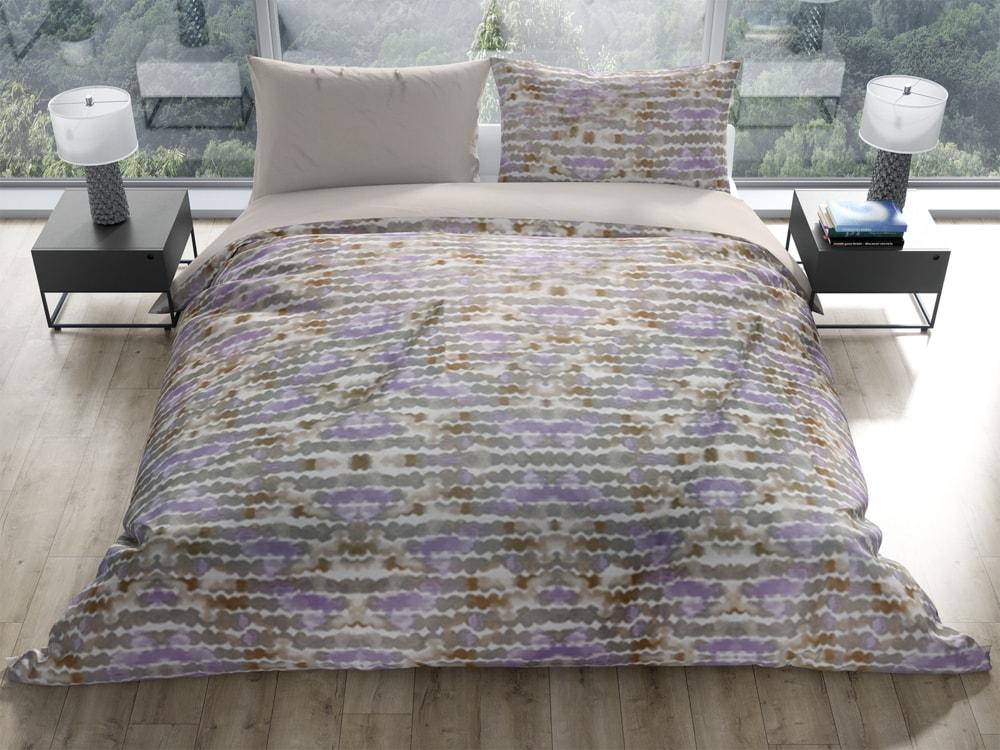 Gipetex Natural Dream Talianská obliečka 100% bavlna LUX Acquarello fialková s dvomi obliečkami na vankúš - 140x200 / 50x70 + 70x90