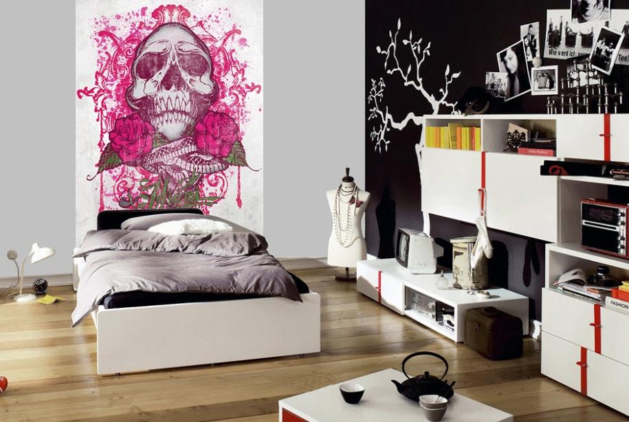 1Wall fototapeta Miami Ink Ružová lebka 158x232 cm