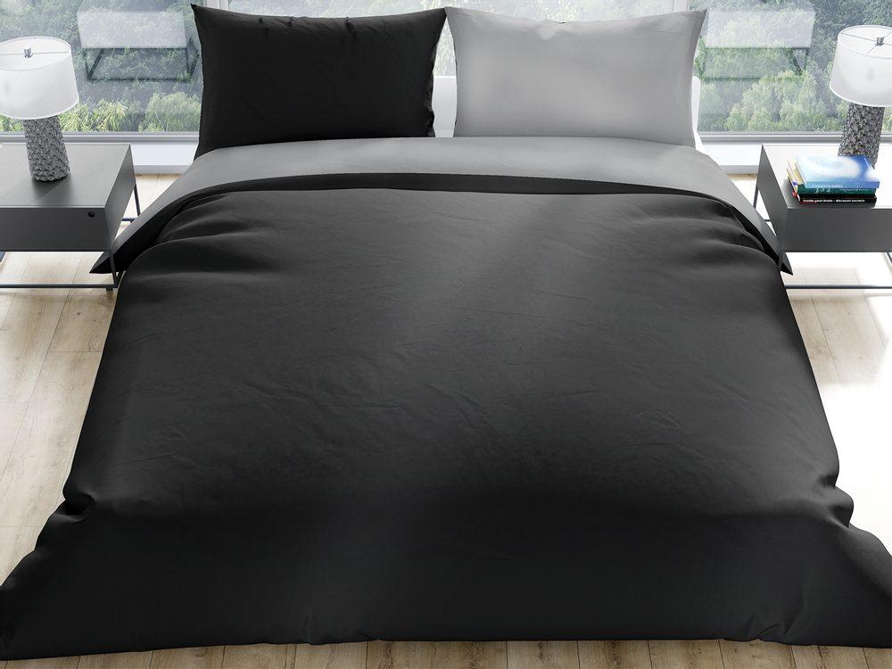 Gipetex Natural Dream Talianske obliečky 100% bavlna LUX Doubleface čierna-šedá - 140x200 / 70x90 cm