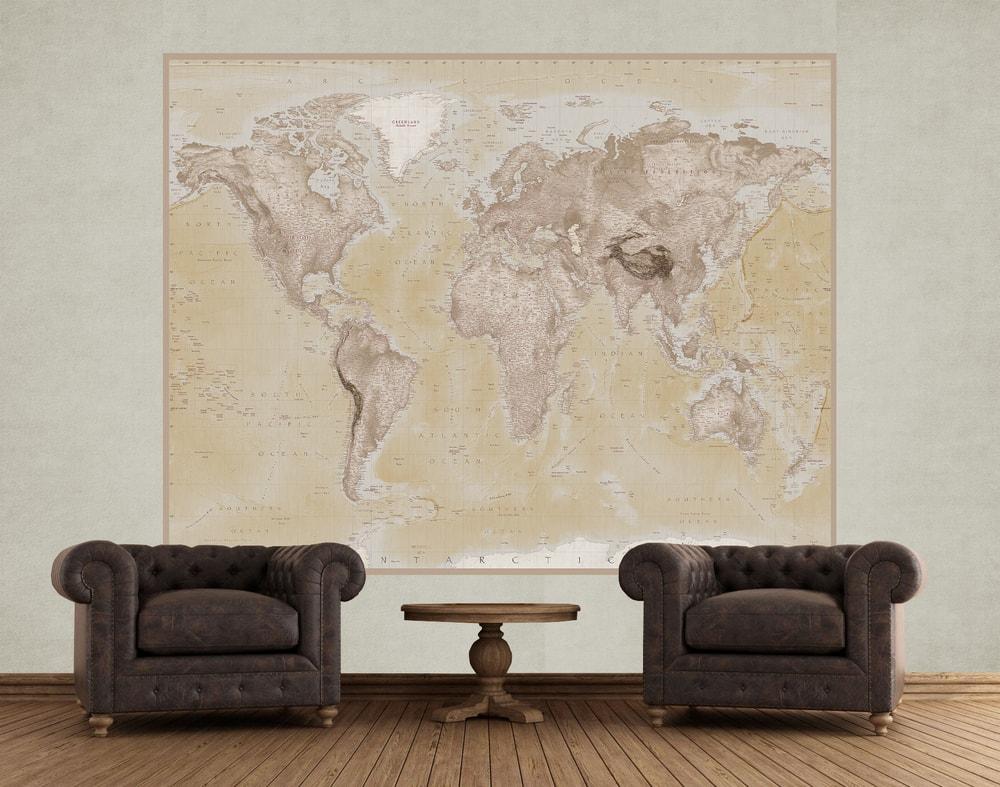 1Wall fototapeta Geografická mapa sveta 158x232 cm