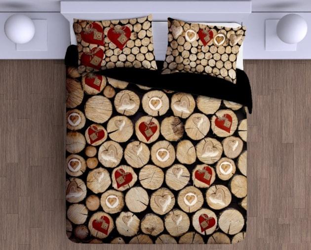 Gipetex Natural Dream 3D talianská obliečka 100% bavlna Catasta Tronchi-polienka&srdce - 140x200 / 70x90 cm