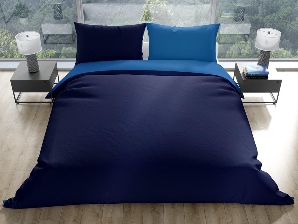 Gipetex Natural Dream Talianská obliečka 100% bavlna LUX Doubleface svetlo/tmavo modrá - 220x200 / 70x90 cm