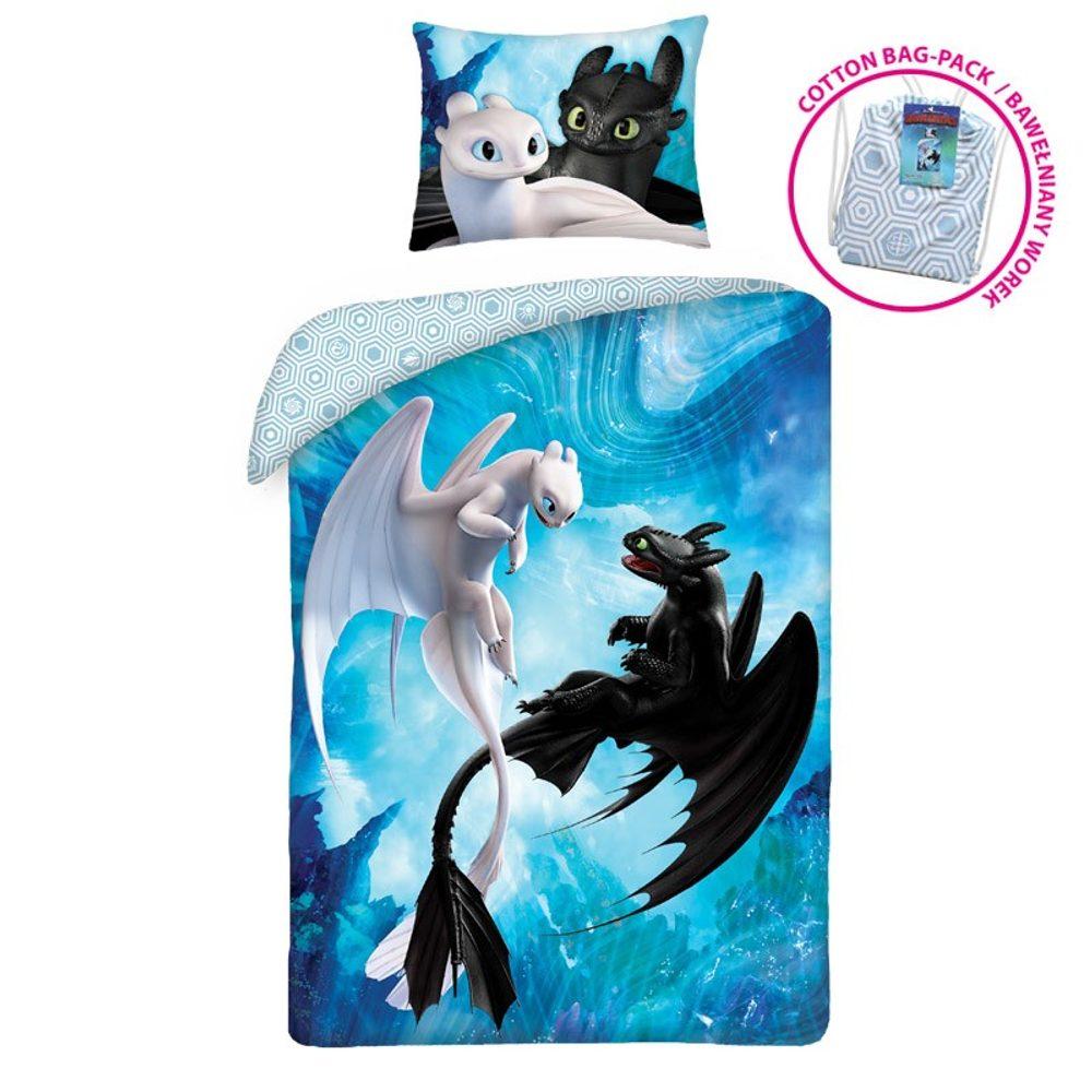 Halantex Súprava posteľnej obliečky a batoh Ako si vycvičiť draka HTTD6300 140x200/70x90 cm