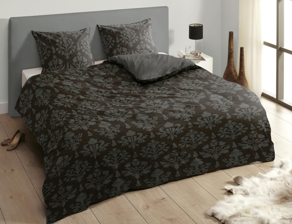 Descanso Luxusné saténové obliečky DESCANSO 9300 Retro antracit - 140x200-220 / 60x70 cm