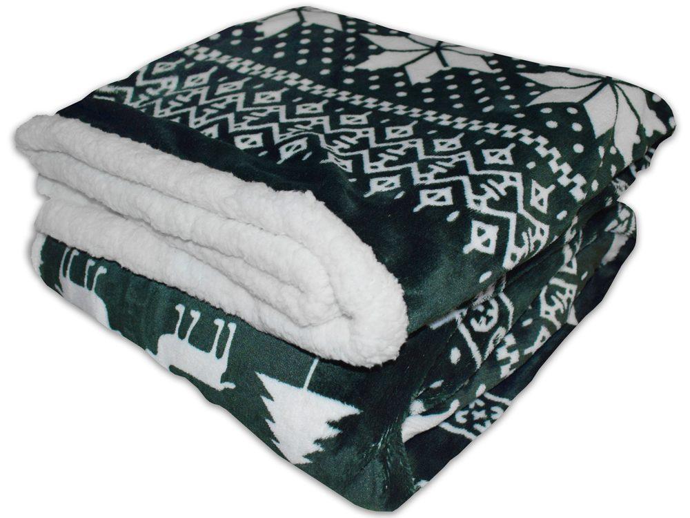 Homeville deka mikroplyš s baránkom 150x200 cm Zimný motív zelený