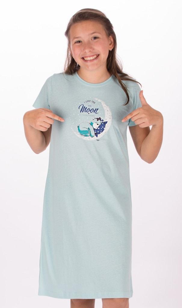 a4e480934bd5 Detská nočná košeľa s krátkym rukávom Medveď na mesiaci (mentolová  ...