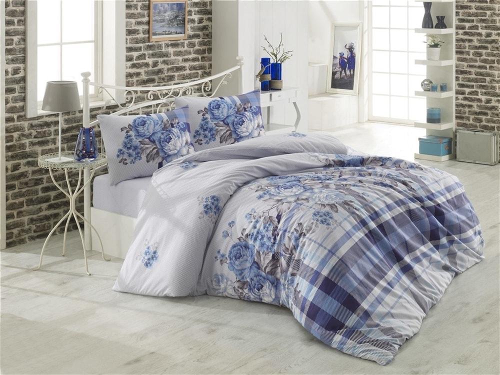 Brotex Obliečky bavlna 140x200 cm, 70x90 cm Evelina modré