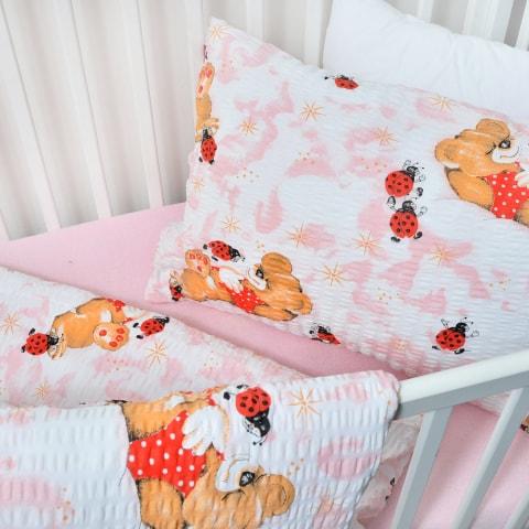Dětské bavlněné povlečení berušky růžové (LS310) - Dětské ložní povlečení 135x90 + 45x65 - (LS310)