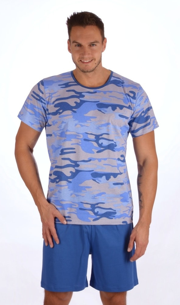 Pánské pyžamo šortky Army nadměr - modrá; 2XL