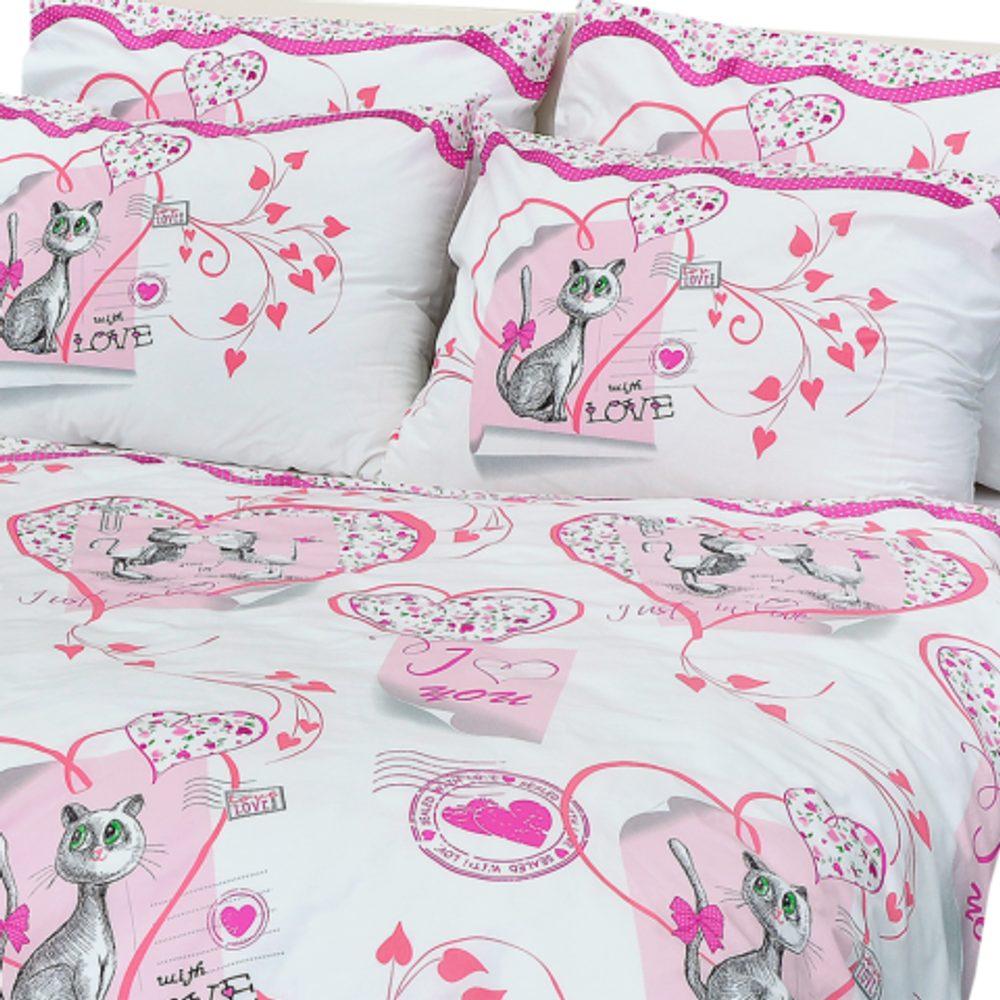 Stanex Detské bavlnené obliečky mačičky ružové (LS332)