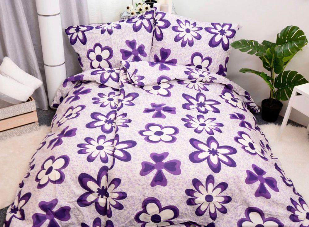 Bavlnené obliečky 140x200, 70x90 - Emily fialová