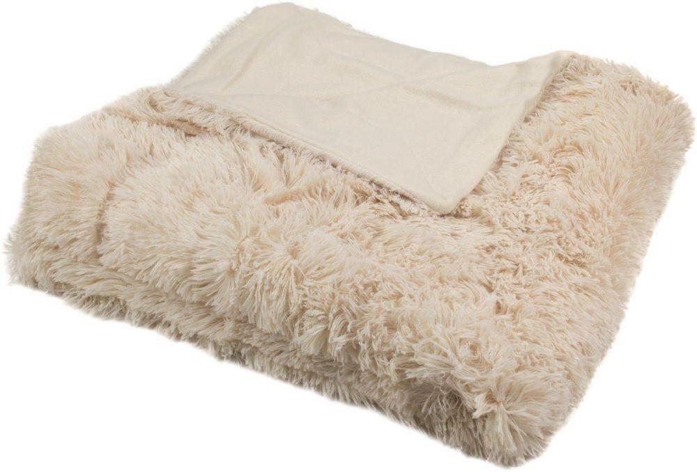 Luxusná deka s dlhým vlasom - Bežová - Deka 150x200 cm
