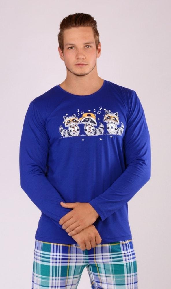 Pánské pyžamo dlouhé Mývalové - námořnická modrá; XL