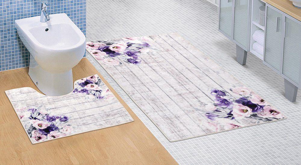 Koupelnová a WC předložka Fialová kytice 3D