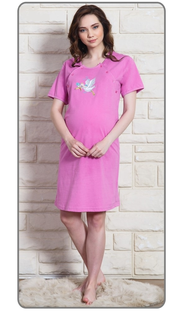 Dámská noční košile mateřská Čáp s čepicí - fialová; S