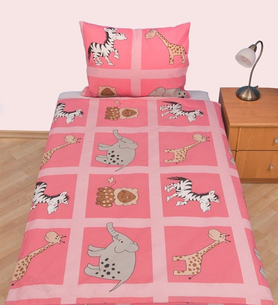 Povlečení dětské krep velká postel Safari růžové