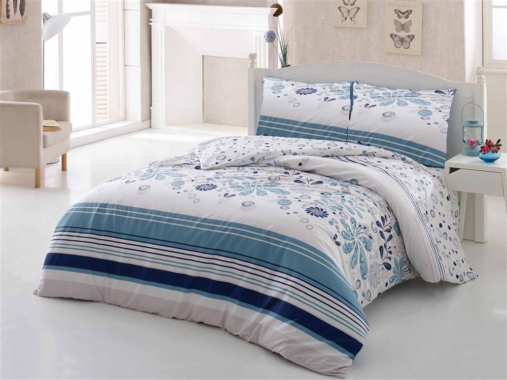 Brotex Obliečky bavlna 140x200 cm, 70x90 cm Pamela modré