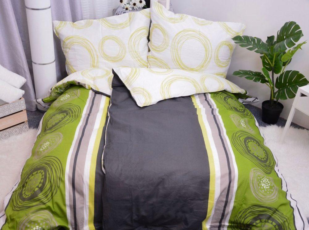 Bavlnené obliečky 140x200, 70x90 - Fanny zelená