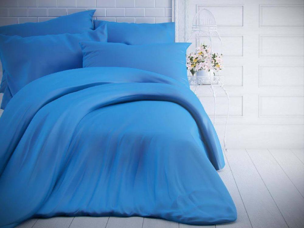 Kvalitex Jednofarebné bavlnené obliečky 140x200, 70x90cm modré