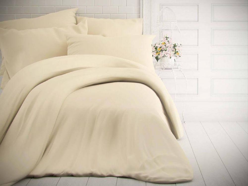Kvalitex Jednofarebné bavlnené obliečky 140x200, 70x90cm smotanové