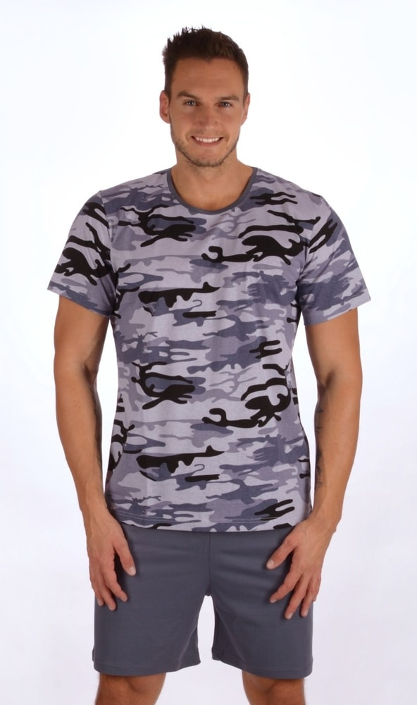 Pánské pyžamo šortky Army nadměr - šedá; 3XL