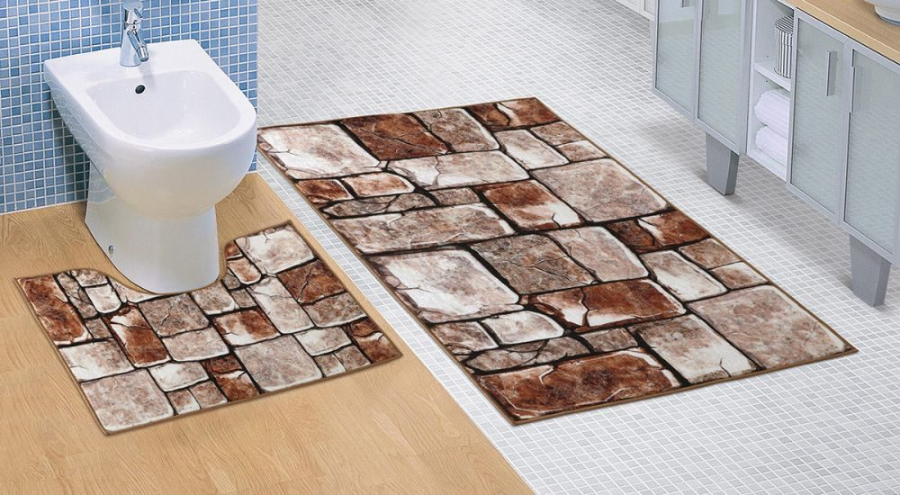 Koupelnová a WC předložka Kamenná dlažba 3D